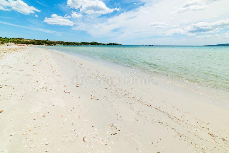 Vit sand i den Puntaldia stranden royaltyfria foton