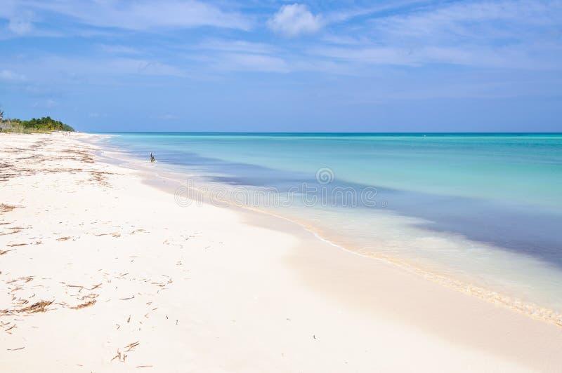 Vit sandstrand på den Cayo Levisa ön i Kuba arkivbilder