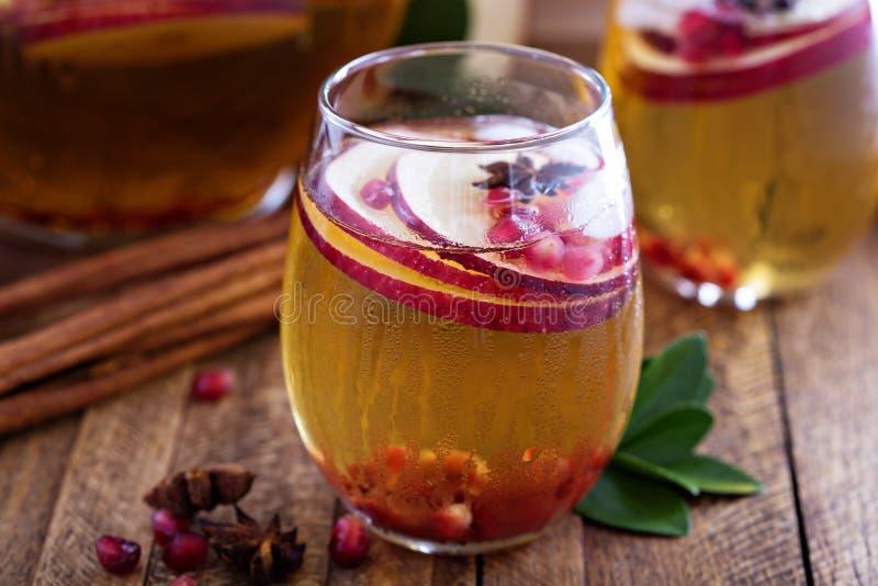 Vit sangria med äppelcider royaltyfri fotografi