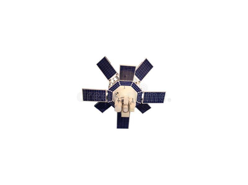 Vit satellit med blåa solpaneler som isoleras på vit bakgrund stock illustrationer