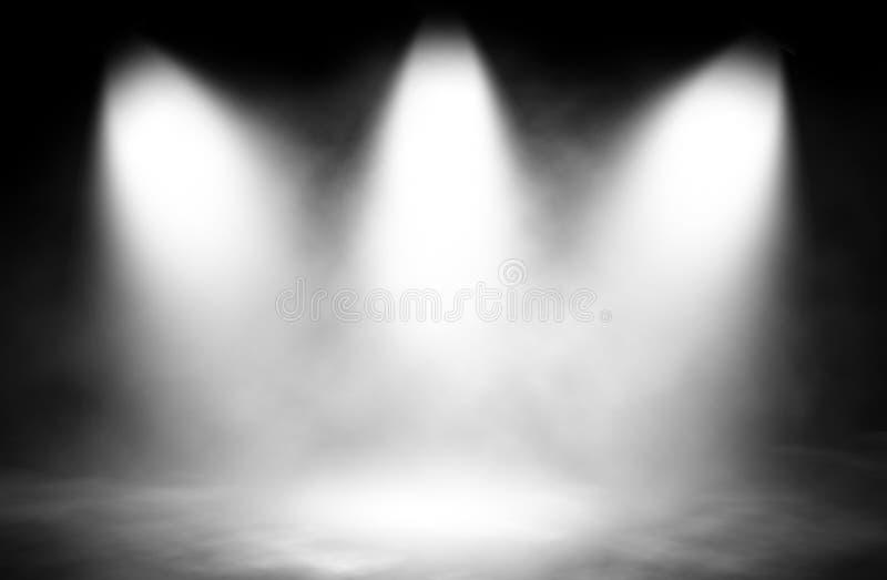 Vit scenografi för rökstrålkastare tre arkivfoto