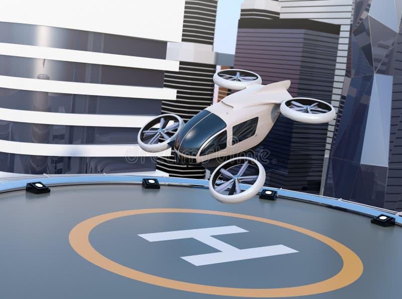 Vit själv-körande passageraresurrstart och landa på helipaden royaltyfri illustrationer