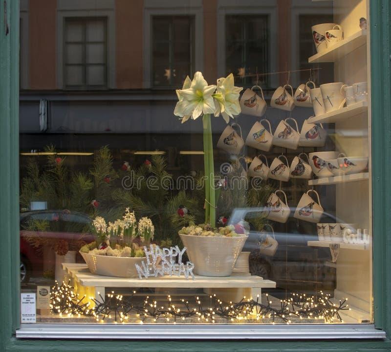 Vit skärm för amaryllisblommafönstret i ett litet shoppar på Rorstrandsgatan fotografering för bildbyråer