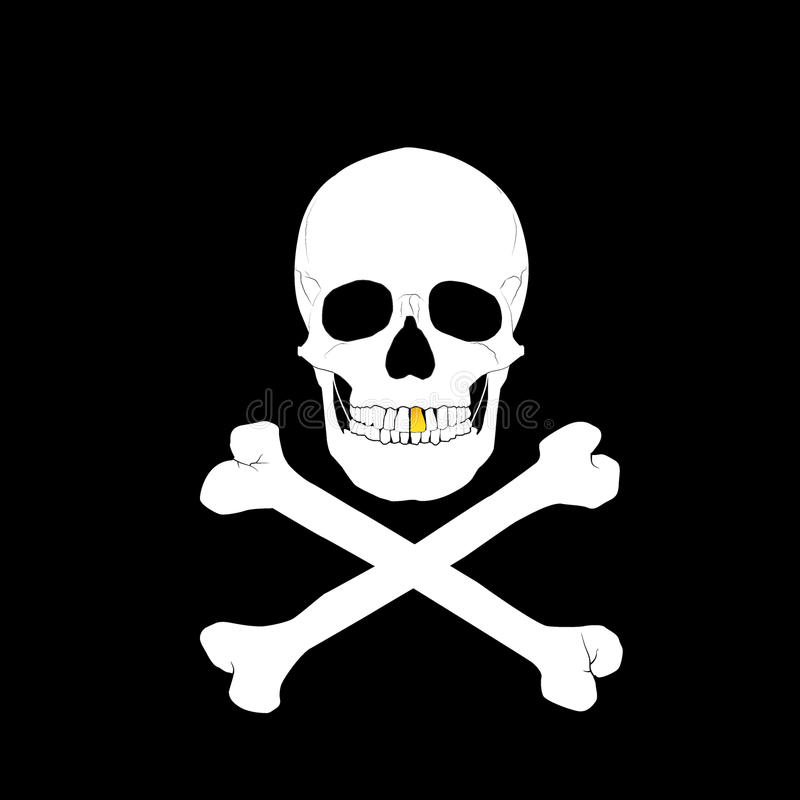 Vit skalle och crossbones royaltyfri illustrationer