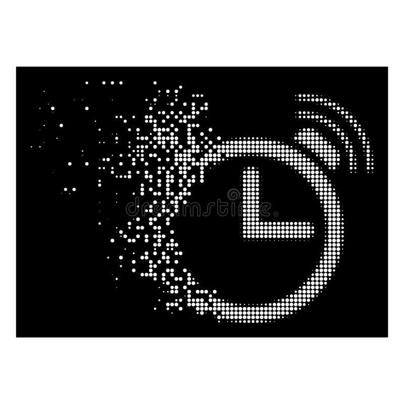 Vit skingrad rastrerad ringklockasymbol för PIXEL royaltyfri illustrationer