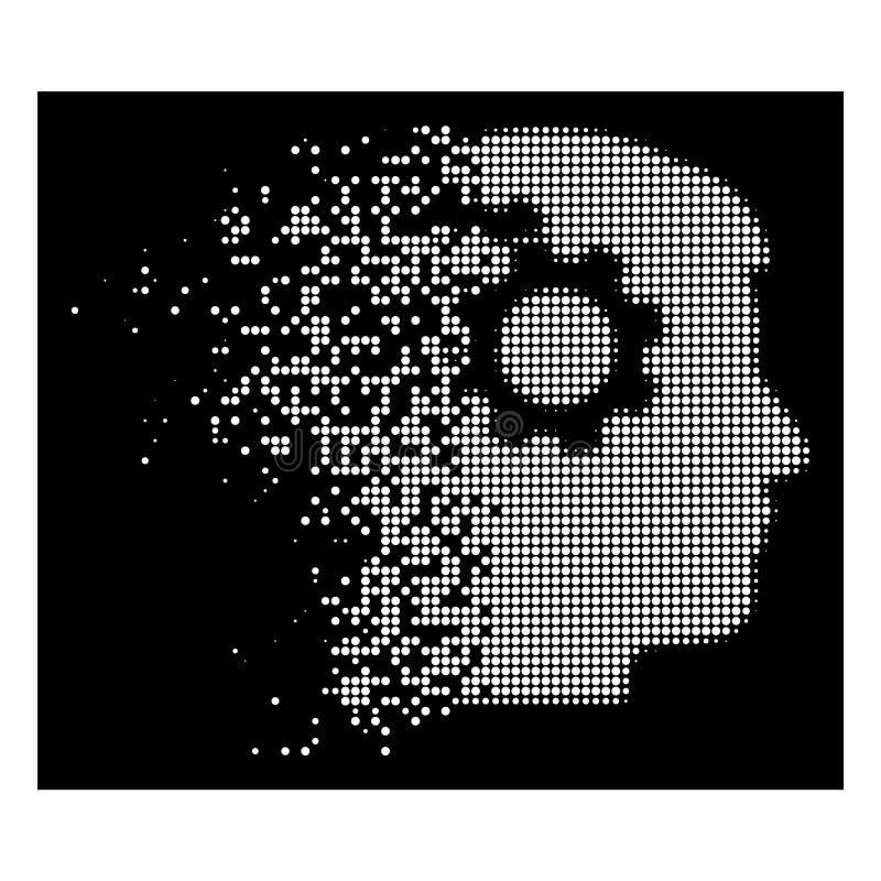 Vit skingrat rastrerat intellekt för PIXELet utrustar symbolen vektor illustrationer