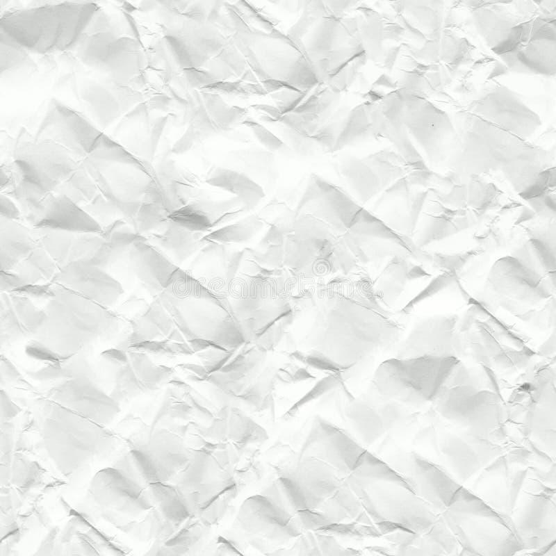 Vit skrynklig pappers- sömlös textur arkivfoton