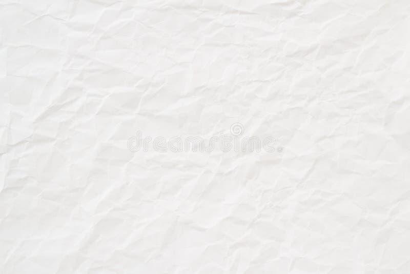 Vit skrynkligt pappers- texturerar eller bakgrund arkivbilder