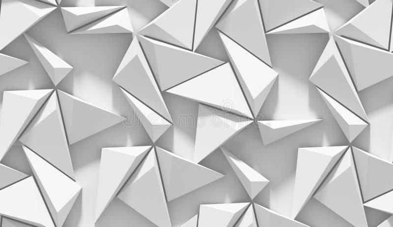 Vit skuggad abstrakt geometrisk modell Origamipappersstil bakgrund för tolkning 3D royaltyfri illustrationer