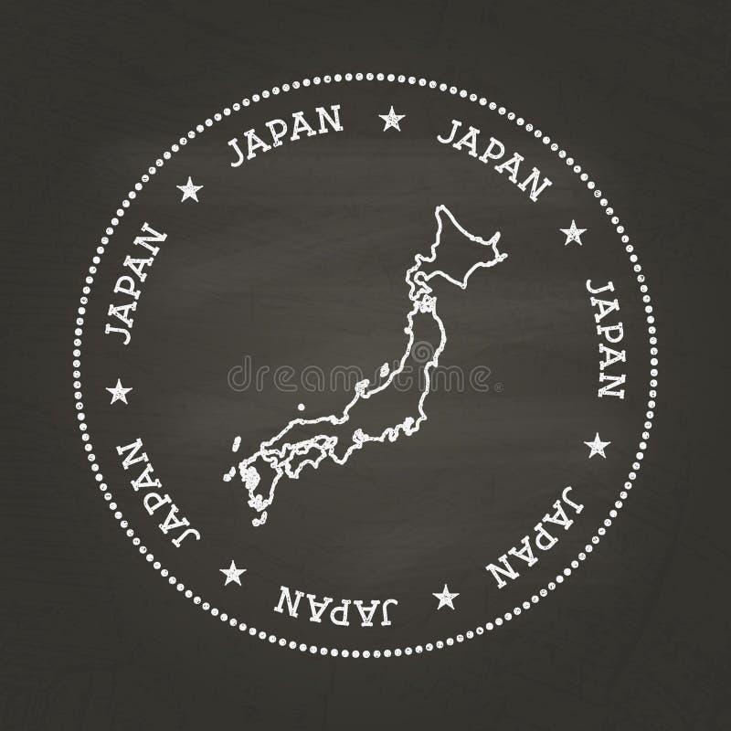 Vit skyddsremsa för kritatexturtappning med den Japan översikten vektor illustrationer