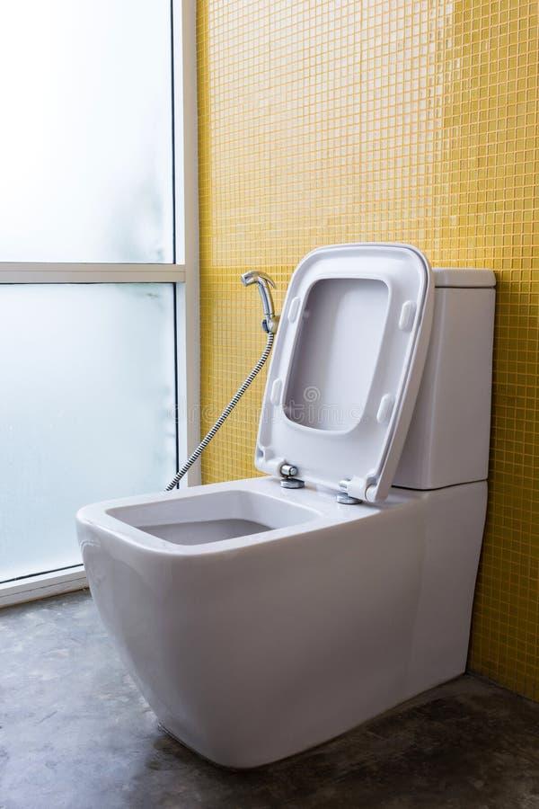 Vit slät garnering för toalett- och gulingväggmosaik arkivbild