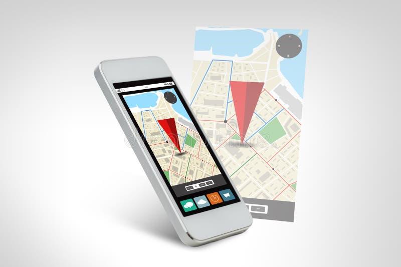 Vit smarthphone med gps-navigatöröversikten på skärmen royaltyfri illustrationer