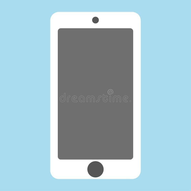 Vit smartphone med plan stil för grå skärm främre sikt för vit mobiltelefon på den blåa bakgrundsvektorn eps10 royaltyfri illustrationer