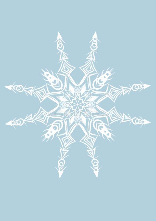 vit snöflinga på den plana blåa bakgrunden vektor illustrationer