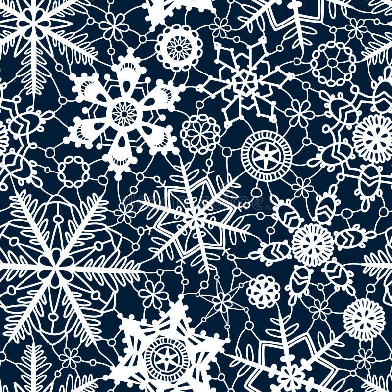 Vit snör åt den sömlösa modellen för virkningsnöflingor på marinblått, vektor stock illustrationer