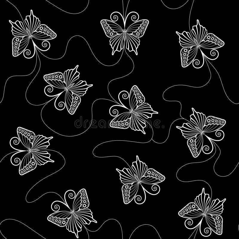 Vit snör åt den sömlösa modellen med fjärilar stock illustrationer