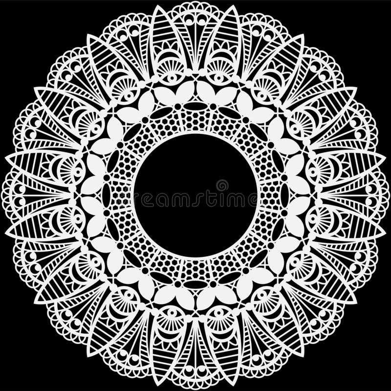 Vit snör åt Doilyramen royaltyfri illustrationer