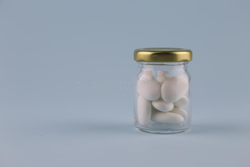 Vit sockrade mandlar arkivfoton