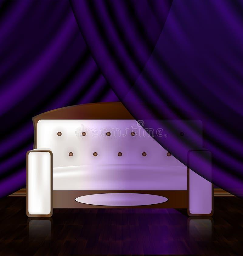vit soffa i det violetta rummet royaltyfri illustrationer