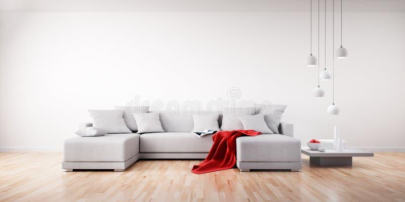Vit soffa i en ljus vardagsrum royaltyfri illustrationer
