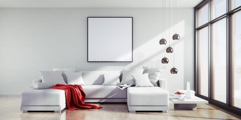 Vit soffa i en solig vardagsrum royaltyfri illustrationer