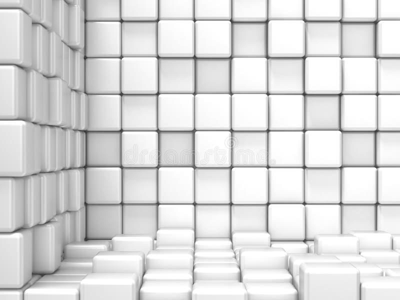 Vit som är kubik, hörnutrymme Modern bakgrund för raster stock illustrationer