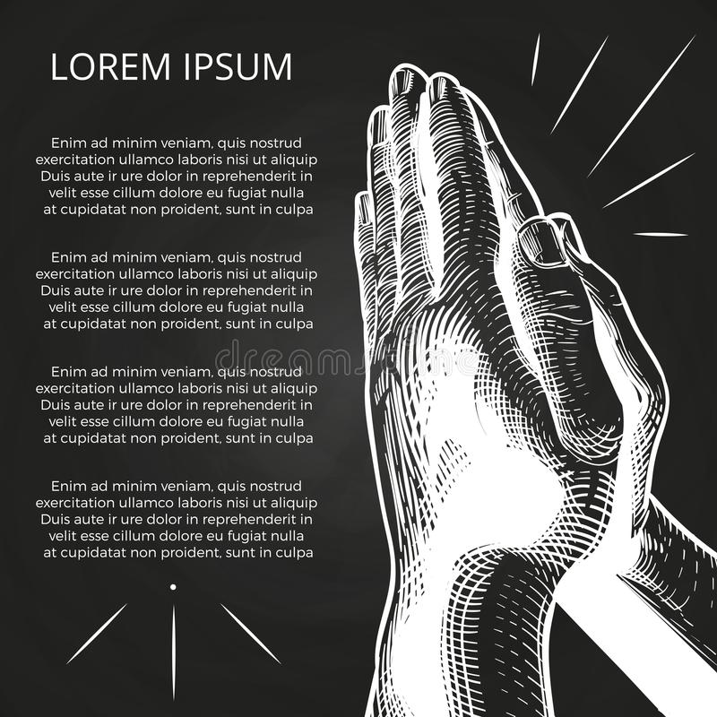 Vit som ber händer, bön på bibeln vektor illustrationer