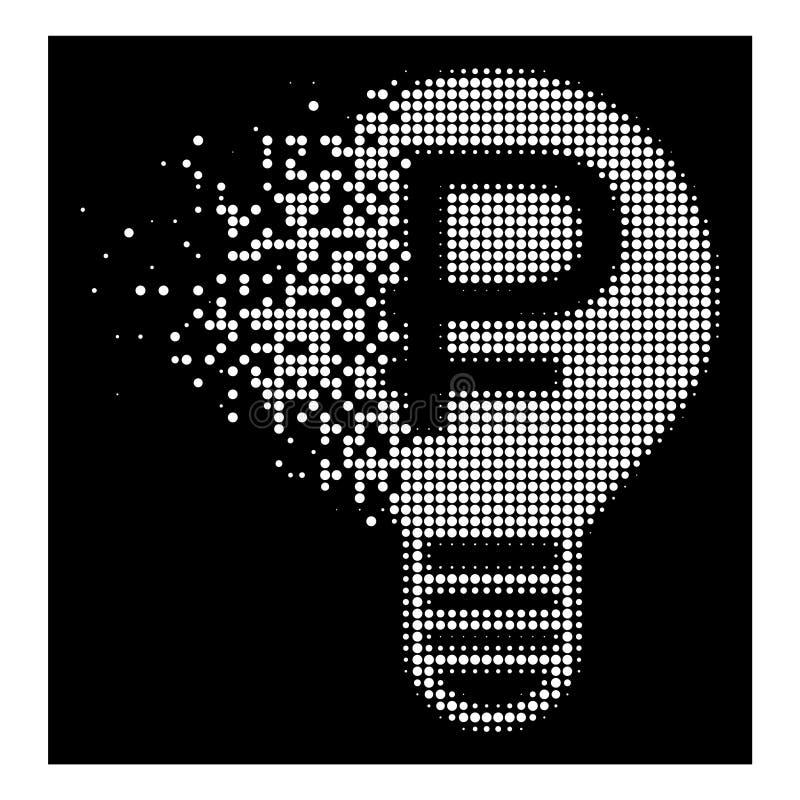 Vit som desintegrerar den prickiga rastrerade rubelkulasymbolen stock illustrationer