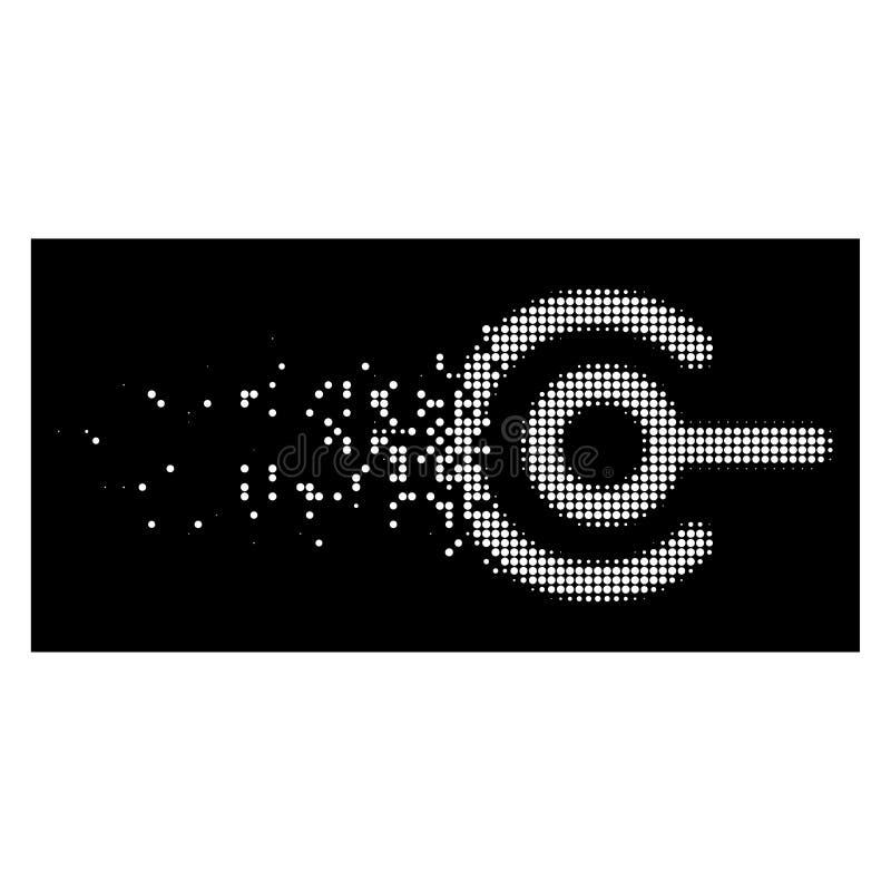 Vit som desintegrerar den prickiga rastrerade trådanslutningssymbolen royaltyfri illustrationer