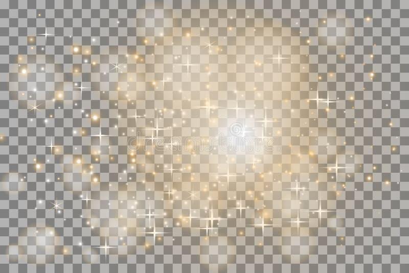 Vit som glöder ljus, exploderar på en genomskinlig bakgrund Mousserande magiska dammpartiklar ljus stjärna vektor illustrationer