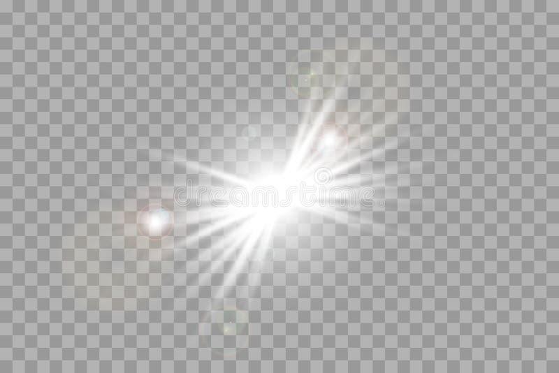 Vit som glöder ljus, exploderar på en genomskinlig bakgrund Mousserande magiska dammpartiklar ljus stjärna stock illustrationer