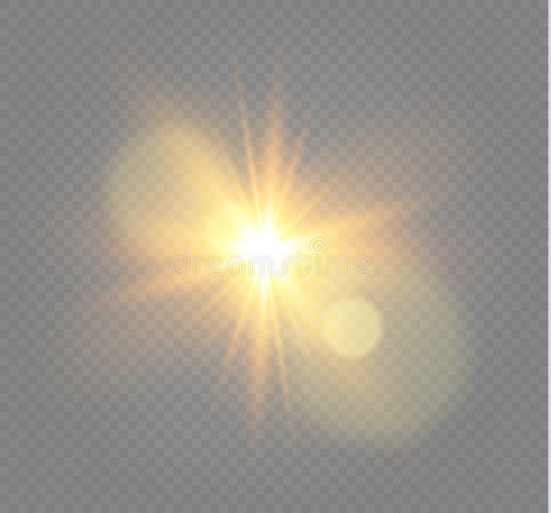Vit som glöder ljus, exploderar på en genomskinlig bakgrund Vektorillustration av ljus garneringeffekt med strålen stock illustrationer