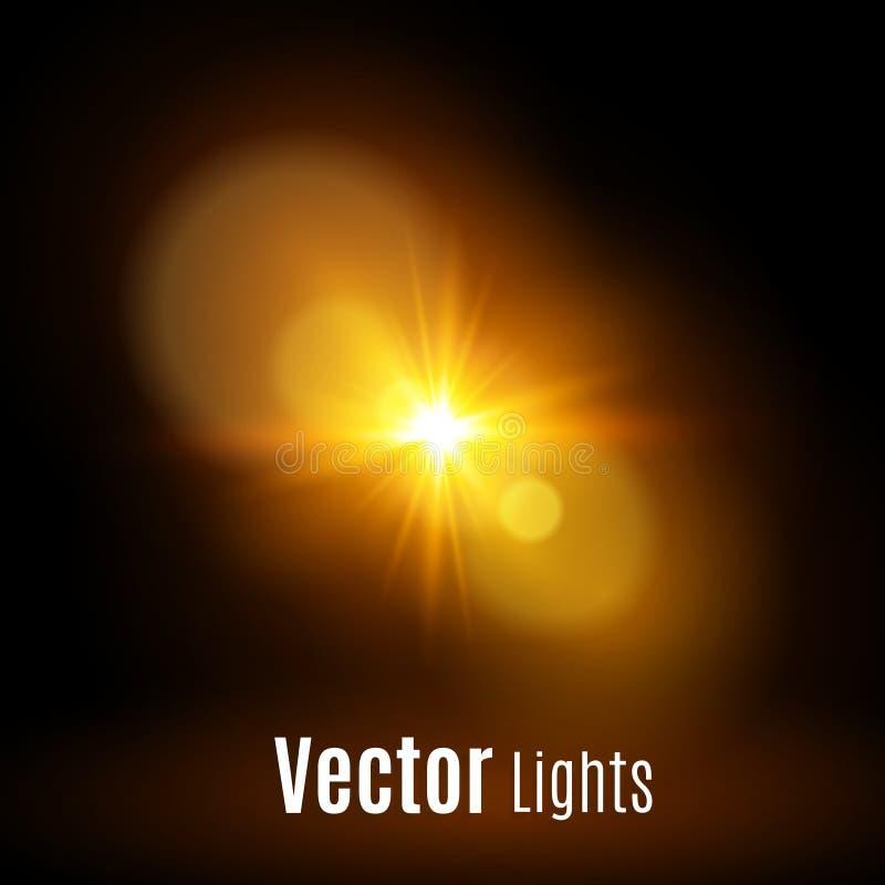 Vit som glöder ljus, exploderar på en genomskinlig bakgrund Vektorillustration av ljus garneringeffekt med strålen vektor illustrationer