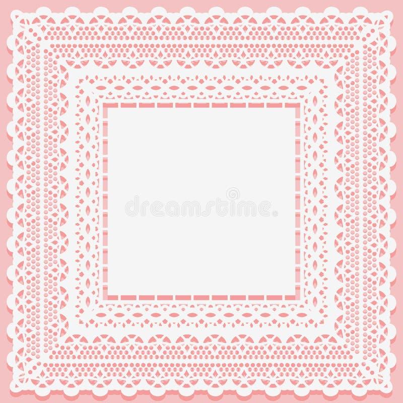 Vit spets- fyrkantig doily som isoleras på en rosa bakgrund Openwork snöra åt den matta ramhandduken royaltyfri illustrationer