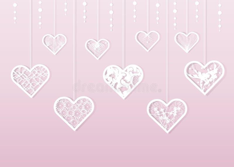 Vit spets- hjärta för pappers- snitt Dagbakgrund för valentin s vektor illustrationer