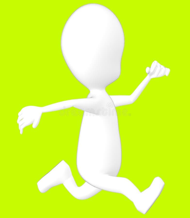 vit spring för tecken 3d stock illustrationer