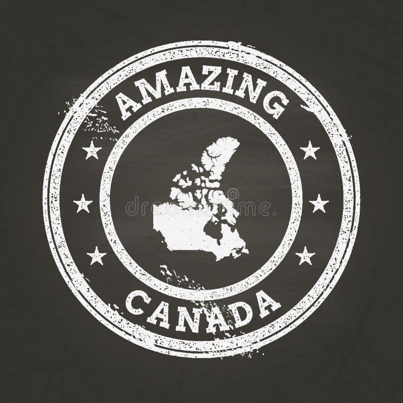 Vit stämpel för kritatexturtappning med den Kanada översikten stock illustrationer