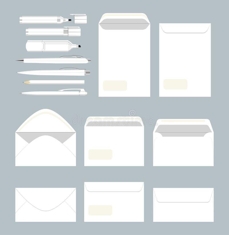 Vit stationär uppsättning vektor illustrationer