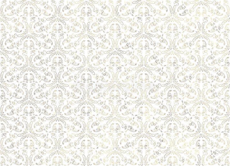 Vit stiliserad bakgrund med den stiliserade blom- prydnaden vektor illustrationer