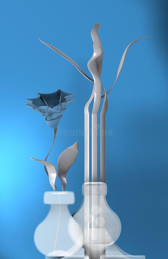 Vit stilleben med blomman vektor illustrationer