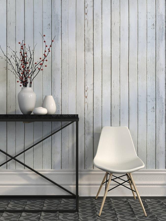 Vit stol- och metalltabell mot väggen av vita bräden vektor illustrationer