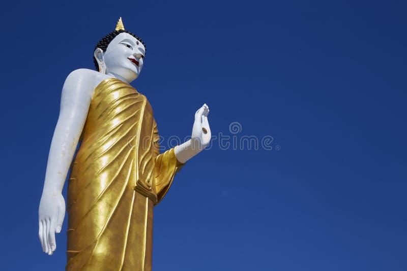 Vit stor Buddhastaty på livlig blå himmel royaltyfria bilder