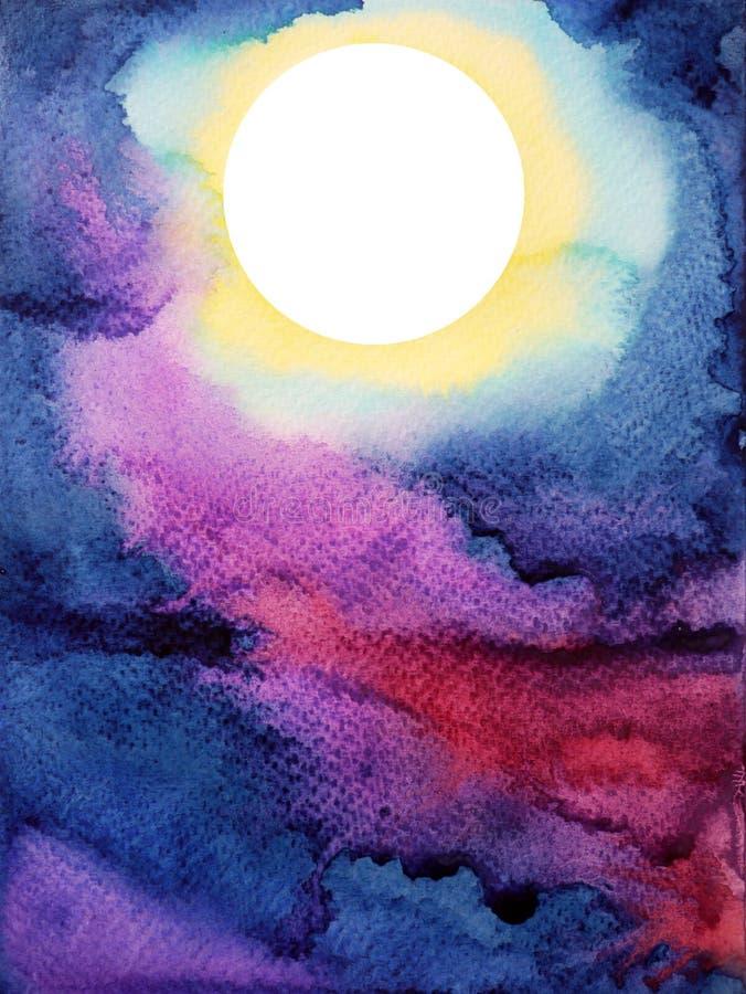 Vit stor fullmåne på mörker - blå målning för vattenfärg för natthimmel royaltyfria bilder