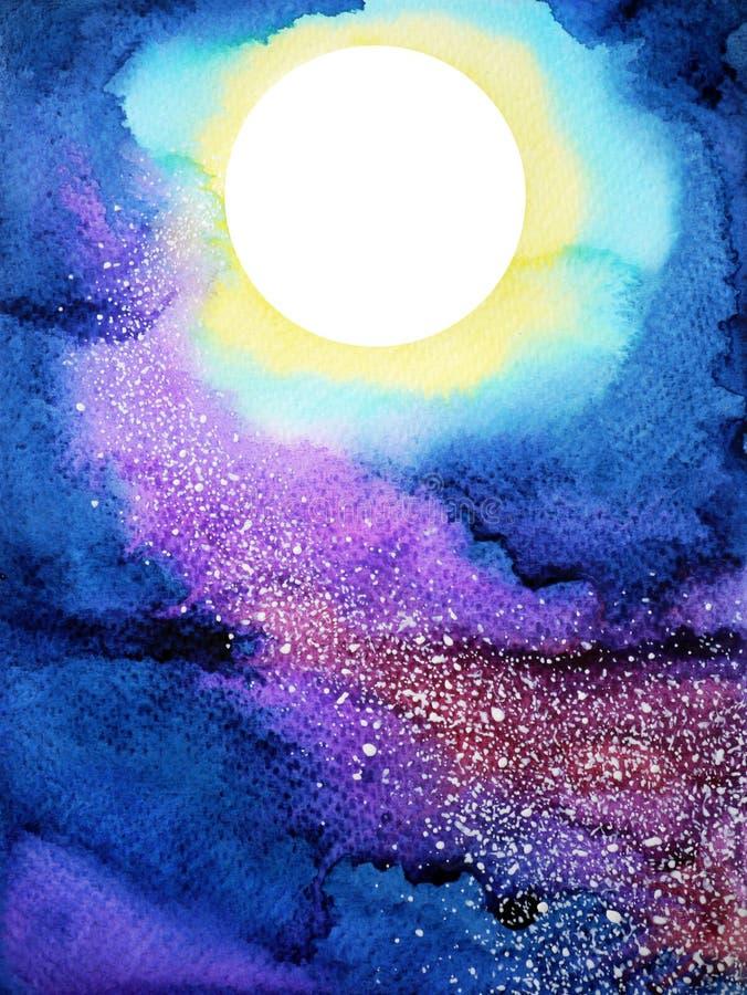 Vit stor fullmåne på mörker - blå målning för vattenfärg för natthimmel royaltyfri fotografi