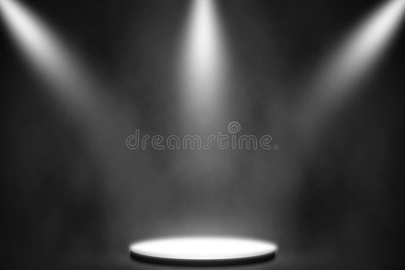 Vit strålkastare på etappunderhållningbakgrund, nattklubbbakgrund för vit lampa arkivbild