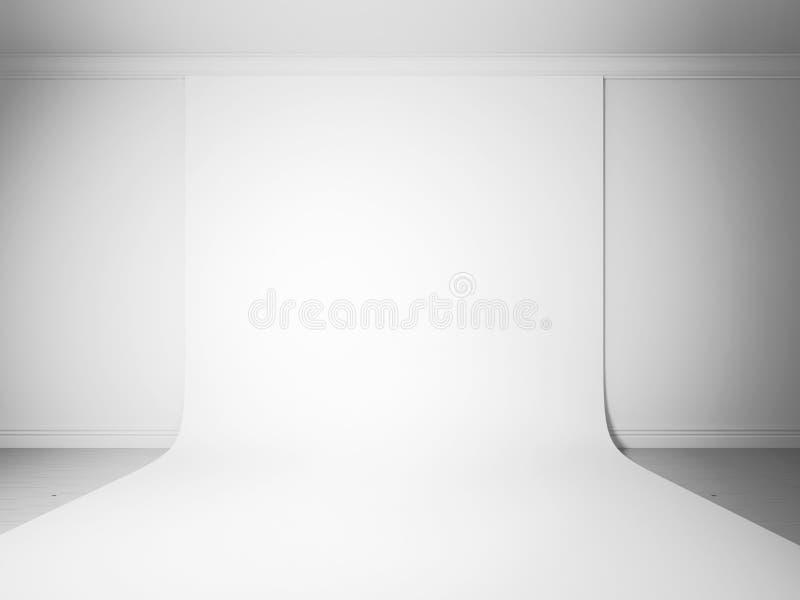 Vit studiobakgrundsfrontal royaltyfri illustrationer