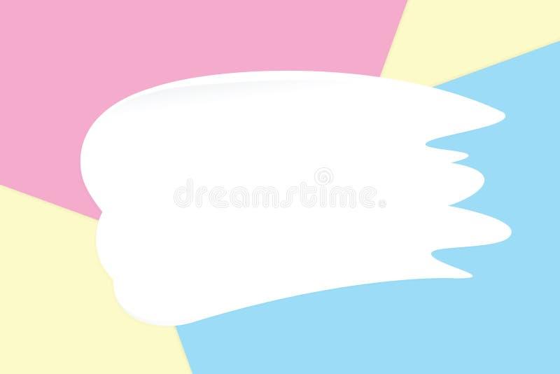 Vit suddkräm på färgrika pastellfärgade mjuka pappers- bakgrundsskönhetsmedel för kopia gör mellanslag meddelandet, lekmanna- sti stock illustrationer