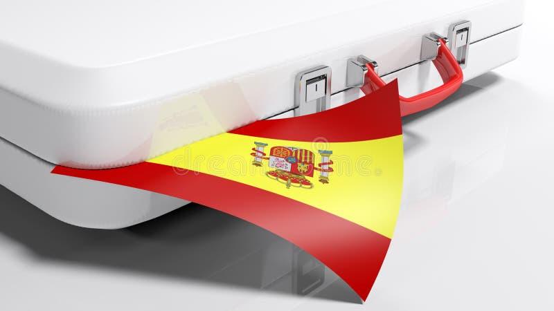 Vit suitecase med den spanska flaggan - illustration för tolkning 3D royaltyfri illustrationer