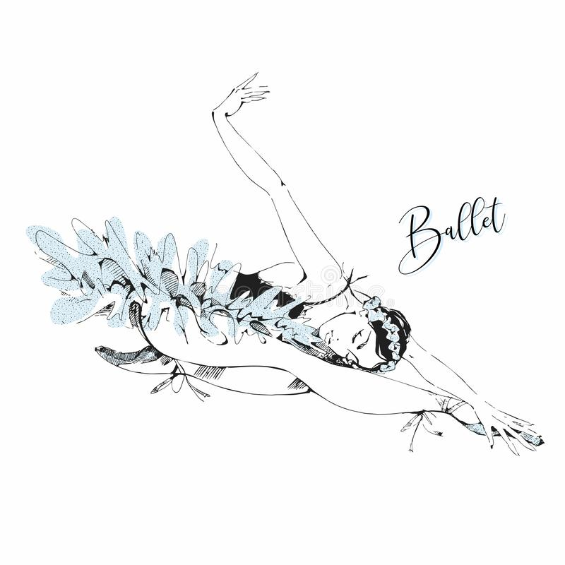 Vit svan för balettdansör Swan lake vektor vektor illustrationer