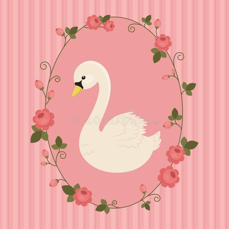 Vit svan i blom- ram på rosa bakgrund stock illustrationer